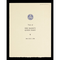 visit of Her Majesty Queen Mary to officially open the Queen Mary Wing. July 1938