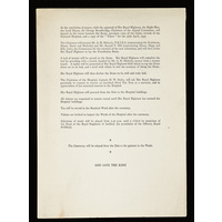 Order of proceedings. Laying the foundation of Queen Mary Wing, by HRH Princess Alice. 1937.
