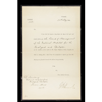 Letter from Buckingham Palace acknowledging condolences sent to Queen Victoria by the Board of Management, on the death of the Duke of Albany. 23rd May 1884