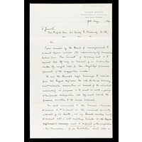 Draft of a letter to Sir Henry F Ponsonby (Queen Victoria's private secretary), from Burford Rawlings, regarding the dedication of the new wing of the Hospital to the late Duke of Albany. 9th May 1884.