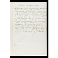 Draft of a letter to Queen Victoria from the Board of Management, offering condolences on the death of her son, the Prince Leopold, Duke of Albany. 1884