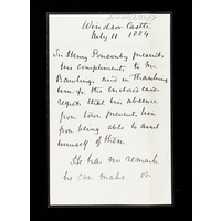 Letter from Sir Henry Ponsonby (Queen Victoria's private secretary), to Burford Rawlings relating to the Albany Wing.