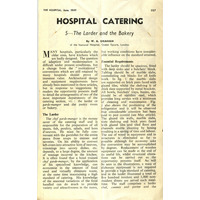 Hospital Catering (at the National) - article in The Hospital. June 1949