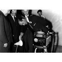 Prince Philip examins the Beaver Breathing Machine, during his centenary visit in 1960.