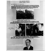 Poster showing Queen Sq bomb damage & Macdonald Chritchley