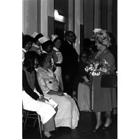 The Queen Mother visits Queen Square to mark the laying of the foundation stone of Queen Square House.