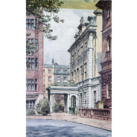 Queen Square House colour postcard painted by Dennis Flanders