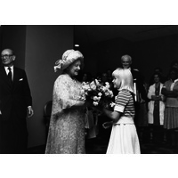 The Queen Mother at the official opening of the new Queen Square House. July 1978.