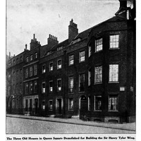 Three old houses in Queen Square demolished to make way for the Royal London Hospital for Integrated Medicine.