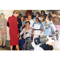 Diana Princess of Wales talks to patient & staff in Front Hall during her 1986 visit.
