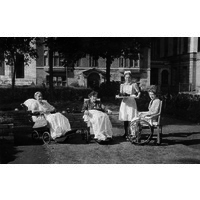 Nurse Bird and three patients in Queen Square Garden