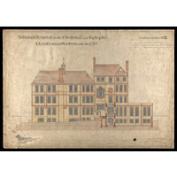 National Hospital - Elevation and Section on the line CD - Contract drawing no.11