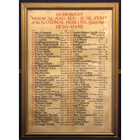 Framed National Hospital staff list 1859-1948