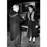 Duchess of Gloucester arriving at Maida Vale Hospital to open the new operating theatre. 1956