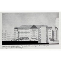 An architects drawing of the Powis Place facade of the new wing of the National Hospital