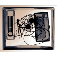 X-ray image of Queen Square box with Gowers' triple wick candle, Von Frey hairs, Weber's two point discriminator compasses and electrodes