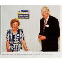 Miss Pat Harris, secretary of the Alumnus Association, and Sir Roger Bannister, former consultant at Queen Square.