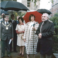 Mr G Robinson at the unveiling of the Jubilee bowl. Picture also includes Baroness Audrey Callaghan.