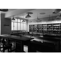 Laboratory in Quen Mary Wing. Published in the Architectural Review