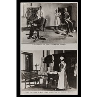 Postcards showing a corner of the excercise ward and part of the electrical and x-ray department.